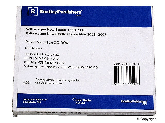 Bentley Repair Manual (DVD), New Beetle