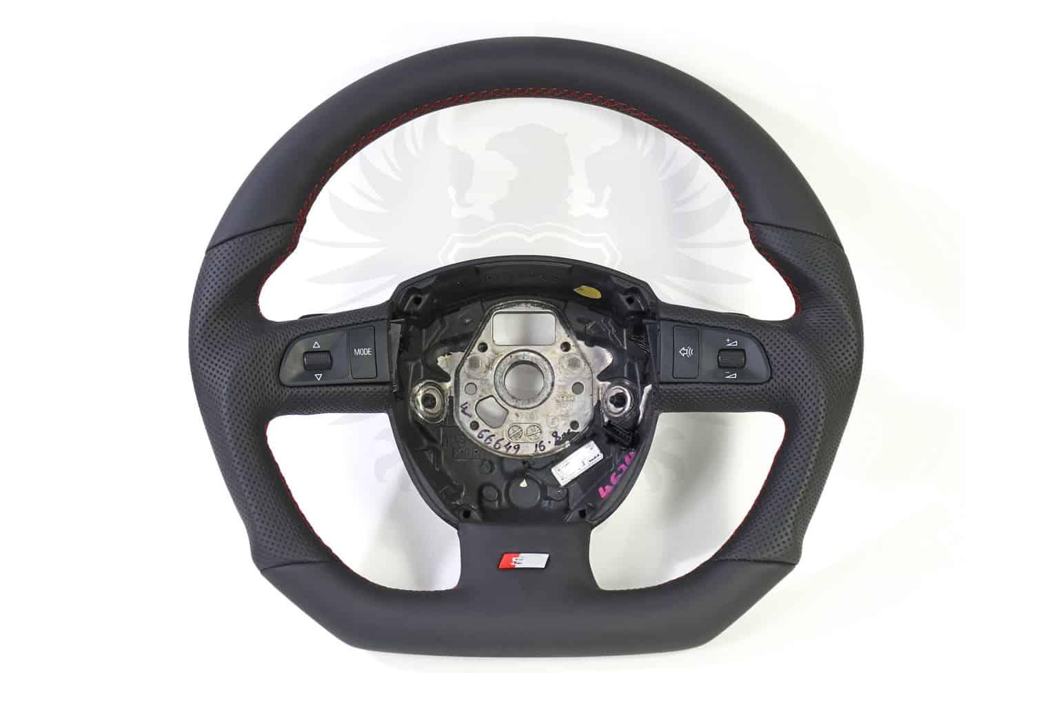 Steering Wheel Audi B Flat Bottom S Line Red Stitch Cascade - Cascade audi